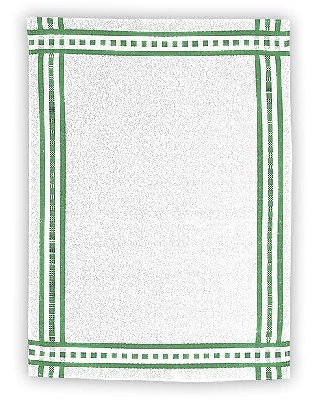 kracht tea towel half linen jacquard plain frame 50 x 70 cm green