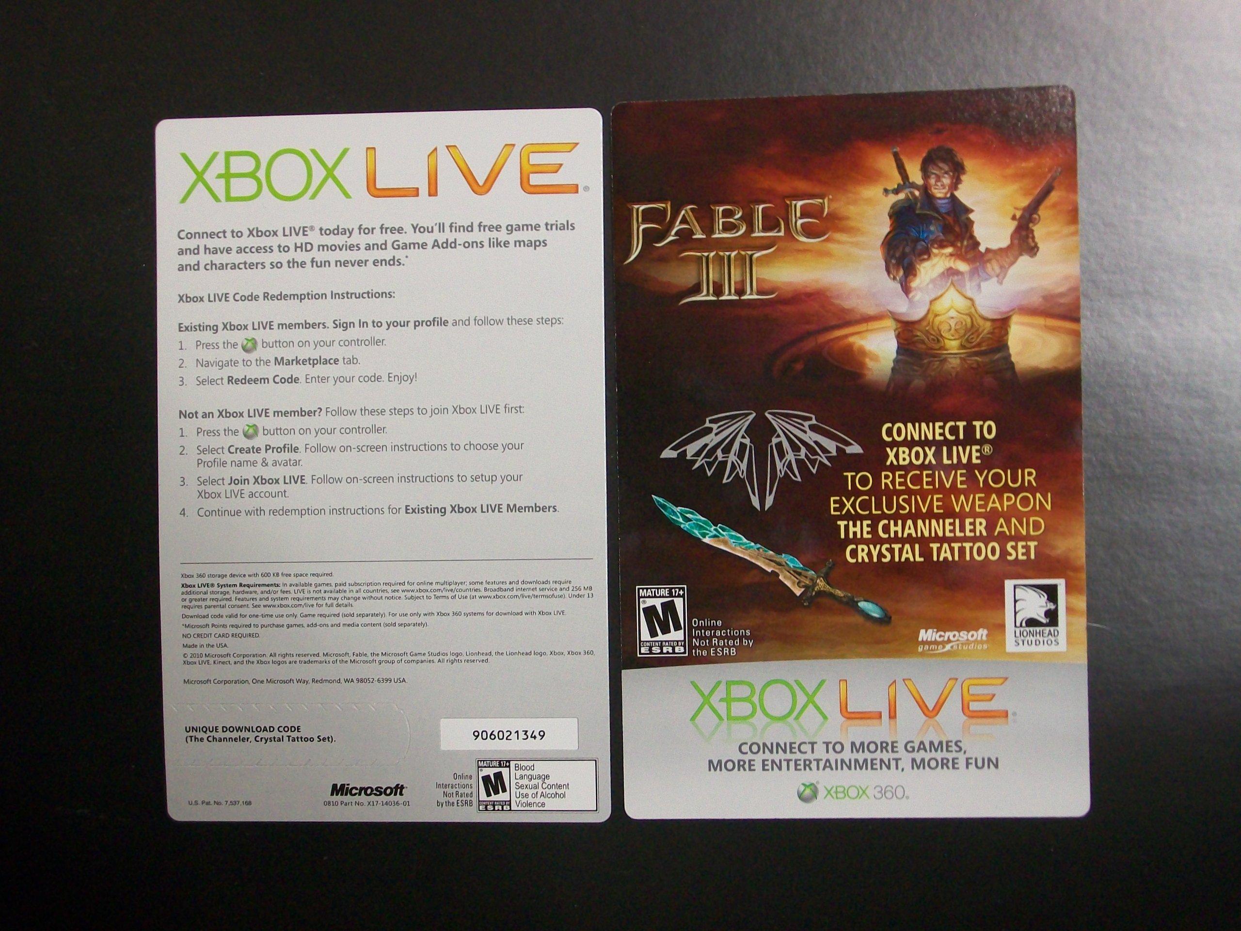 Amazon com: Fable III Channeler and Crystal Tattoo Set Code