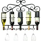 Metal Wine Rack Wall Mounted Holds 5 Bottle With Wine Glass Holders