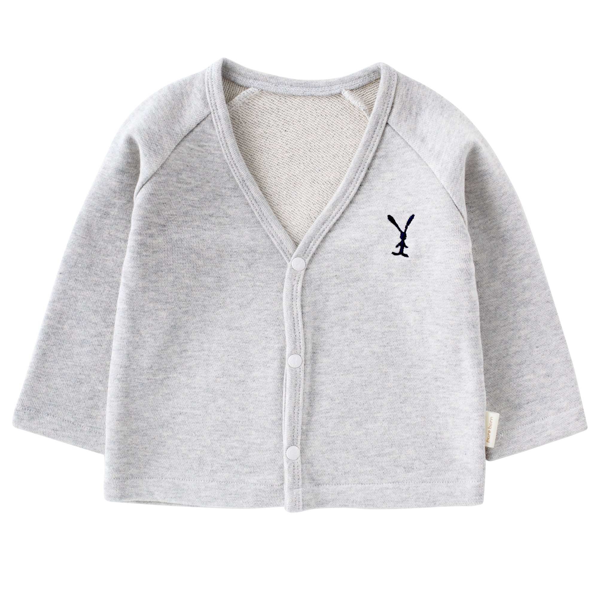 pureborn Baby Boys Girls V-Neck Solid Cardigan Sweater Kid Cotton Clothes Coats Outwear Autumn Grey 3-6 Months