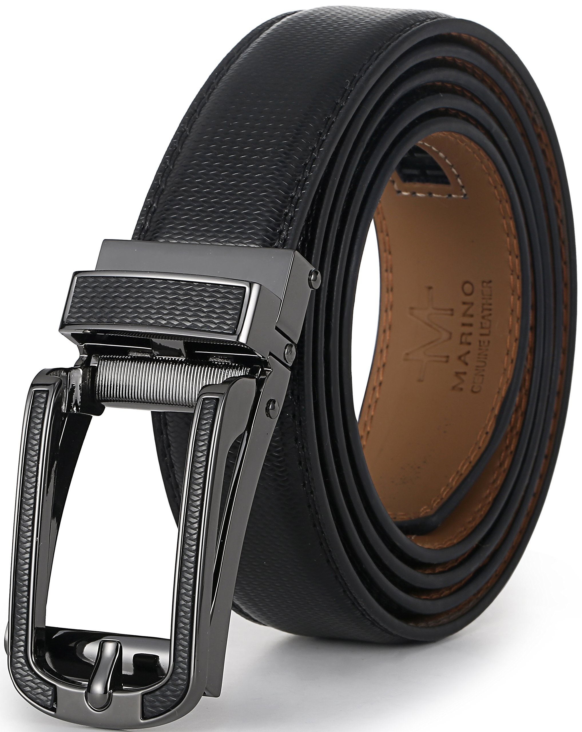 Marino Avenue Mens Genuine Leather Ratchet Dress Belt with Open Linxx Leather Buckle, Enclosed in an Elegant Gift Box - Black - Style 138 - Custom Up to 44'' Waist