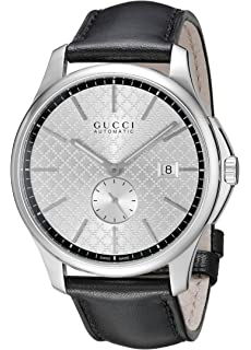 Gucci G-Timeless Collection Stainless Steel Automatic Mens Watch with Black Leather Band(Model