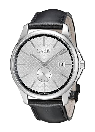 91fb4da9514 Image Unavailable. Image not available for. Color  Gucci G-Timeless  Collection Stainless Steel Automatic Men s Watch with Black Leather Band (Model