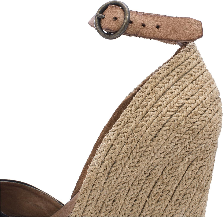 MTBALI - Sandalo Espadrille con Zeppa, Donna - Modello Altea Black Nero bEHkza