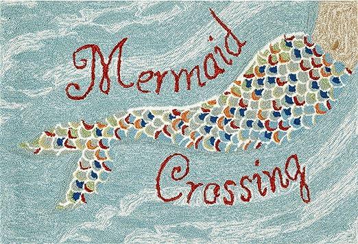 Mermaid Wine Glass Door Floor Mat Coir Rug Nautical Beach Cottage Outdoor Decor