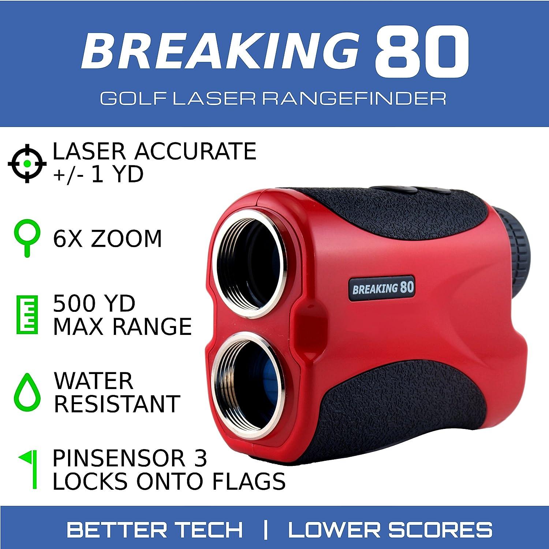 Breaking 80 Golf Rangefinder – Perfect Golf Accessory. Laser Rangefinder with 550 Yard Max Range