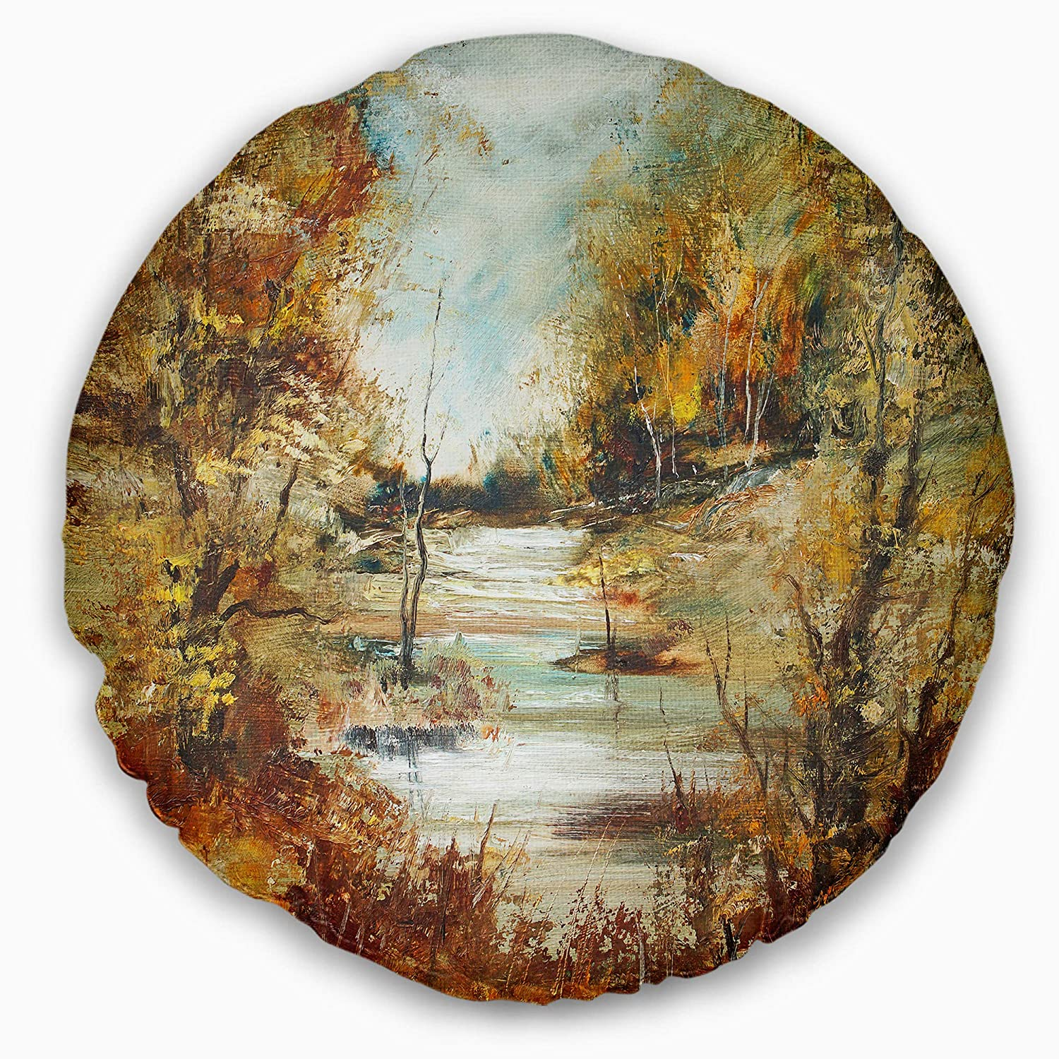 Insert Printed On Both Side Sofa Throw Pillow 20 Designart CU8518-20-20-C Brown River in Forest Landscape Painting Round Cushion Cover for Living Room