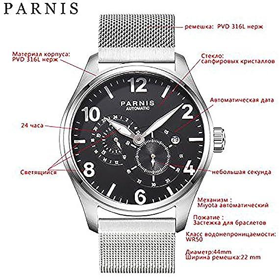 2017 nueva cuestión 44 mm parnis reloj para hombre reloj automático mecánico reloj de pulsera correa