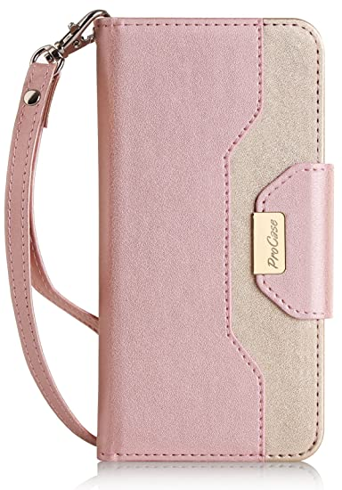 release date fbd0e 8adec ProCase iPhone 8 iPhone 7 Wallet Case, Stylish Folio Flip Card Case Stand  Cover for Apple iPhone 7 / iPhone 8, with Kickstand Card Holder -Pink