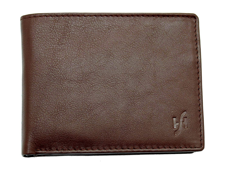 Starhide Mens Designer Luxury Leather Wallet With Secure Zip Coin Pocket #110 (Brown) 110-BRN