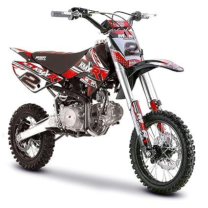Motocicleta para motocross M2R Racing KM125 MX 125 cc (82 cm), color amarillo y rojo, rojo: Amazon.es: Deportes y aire libre