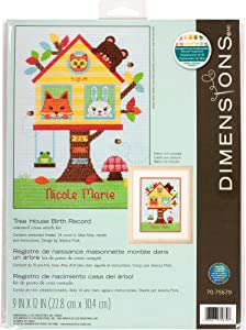 Dimensions Tree House Baby Birth Record Counted Cross Stitch Kit, 14 Count Light Blue Aida Cloth, 9'' x 12''