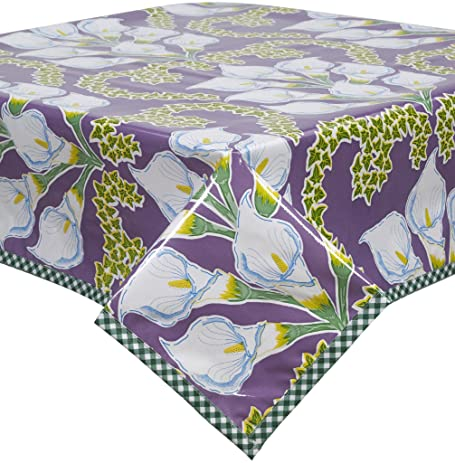 Merveilleux Freckled Sage Calla Lily Purple Oilcloth Tablecloth With Green Gingham Trim  You Pick The Size