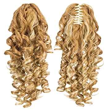 Long Blonde Straight Ponytail Hairpiece W Curled Ends Monalisa Clawclip