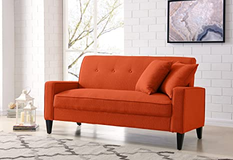 Astounding Amazon Com Domesis Granada Sofa In Orange Linen Kitchen Machost Co Dining Chair Design Ideas Machostcouk