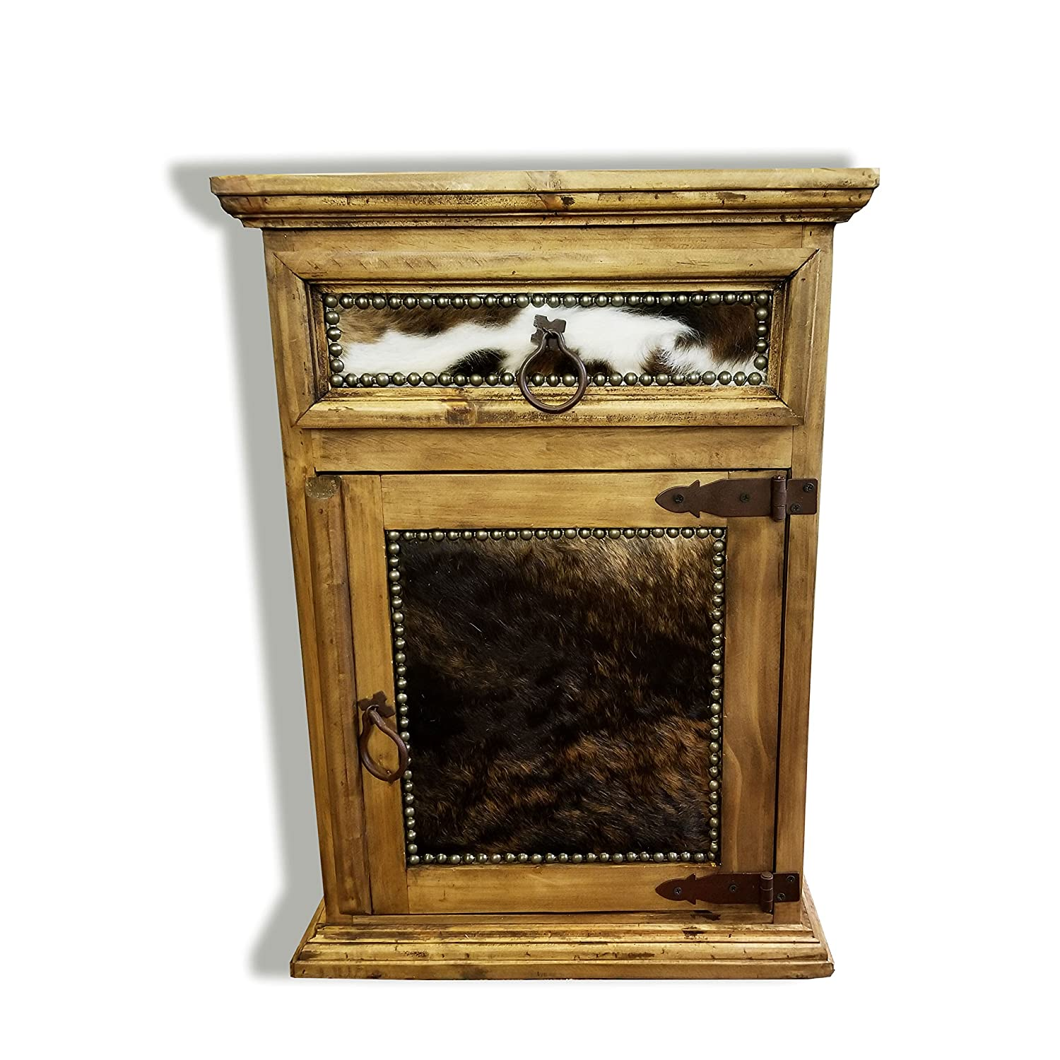 Rustic Western Nightstand End Table With Cowhide Free 3 Day Shipping Honey Wax Finish Solid Wood Honey Finish Right Hinged