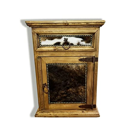 Gentil RUSTIC FURNITURE DELIVERED Rustic Western Nightstand End Table With Cowhide  Free 3 Day Shipping Honey Wax