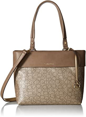 68129f4d653 Calvin Klein womens Calvin Klein Patty Signature East/West Tote, champagne/ metallic tpe