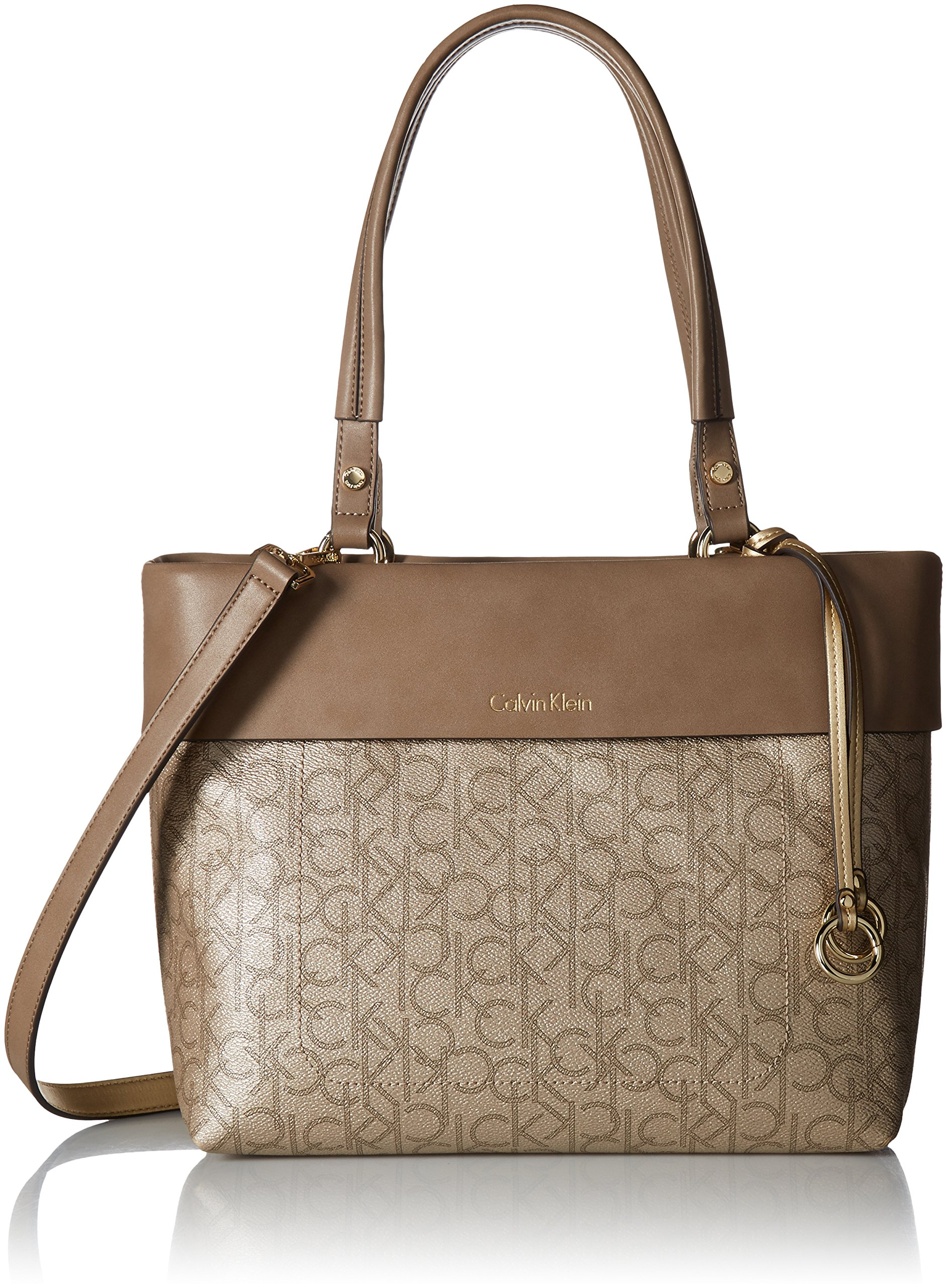 Calvin Klein Patty Signature East/West Tote, Champagne/Metallic Tpe