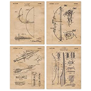 Vintage Bow and Arrow Patent Poster Prints, Set of 4 (8x10) Unframed Photos, Great Wall Art Decor Gifts Under 20 for Home, Office, Man Cave, College Student, Teacher, Hunter, Hunting & Sportsman Fan