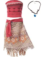 Muababy Moana Girls Adventure Outfit Cosplay Costume Skirt Set With Necklace