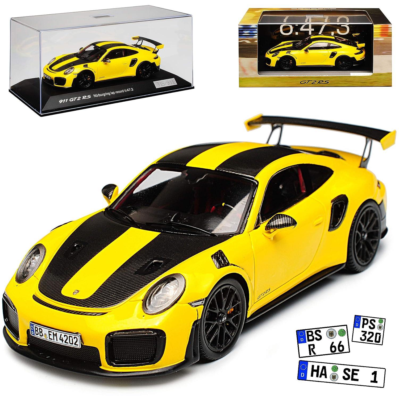 Spark Porsche 911 991 II GT2 RS Gelb Rundenrekord Bürburgring Modell ab 2012 Ab Facelift 2015 limitiert 1 von 911 1/43 Modell Auto mit individiuellem Wunschkennzeichen