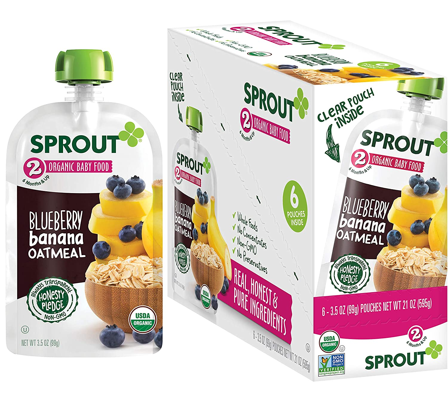 Sprout Organic Stage 2 Baby Food Pouches, Blueberry Banana Oatmeal, 3.5 Ounce (Pack of 6)