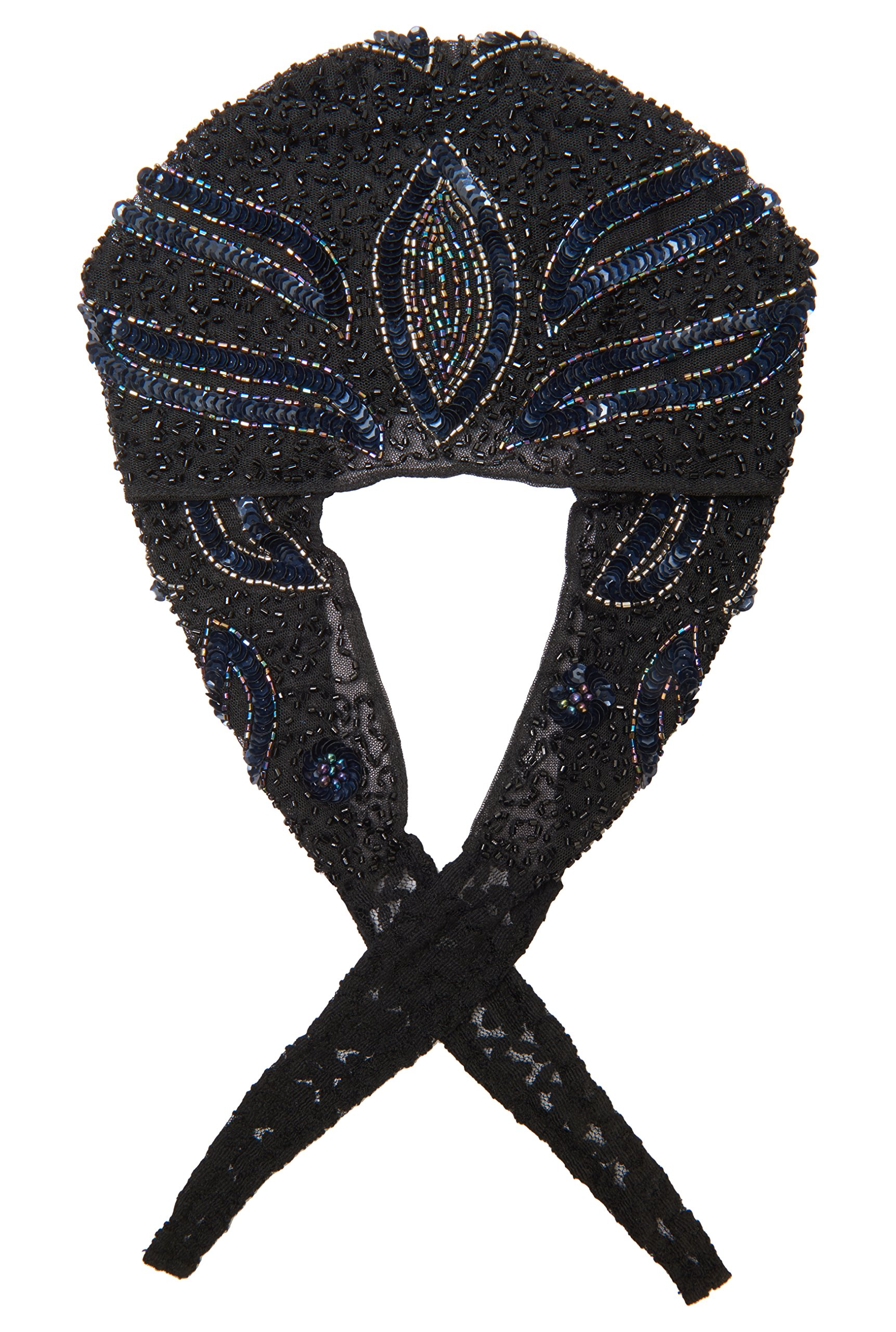 gatsbylady london Vegas Flapper Turban in Black Navy