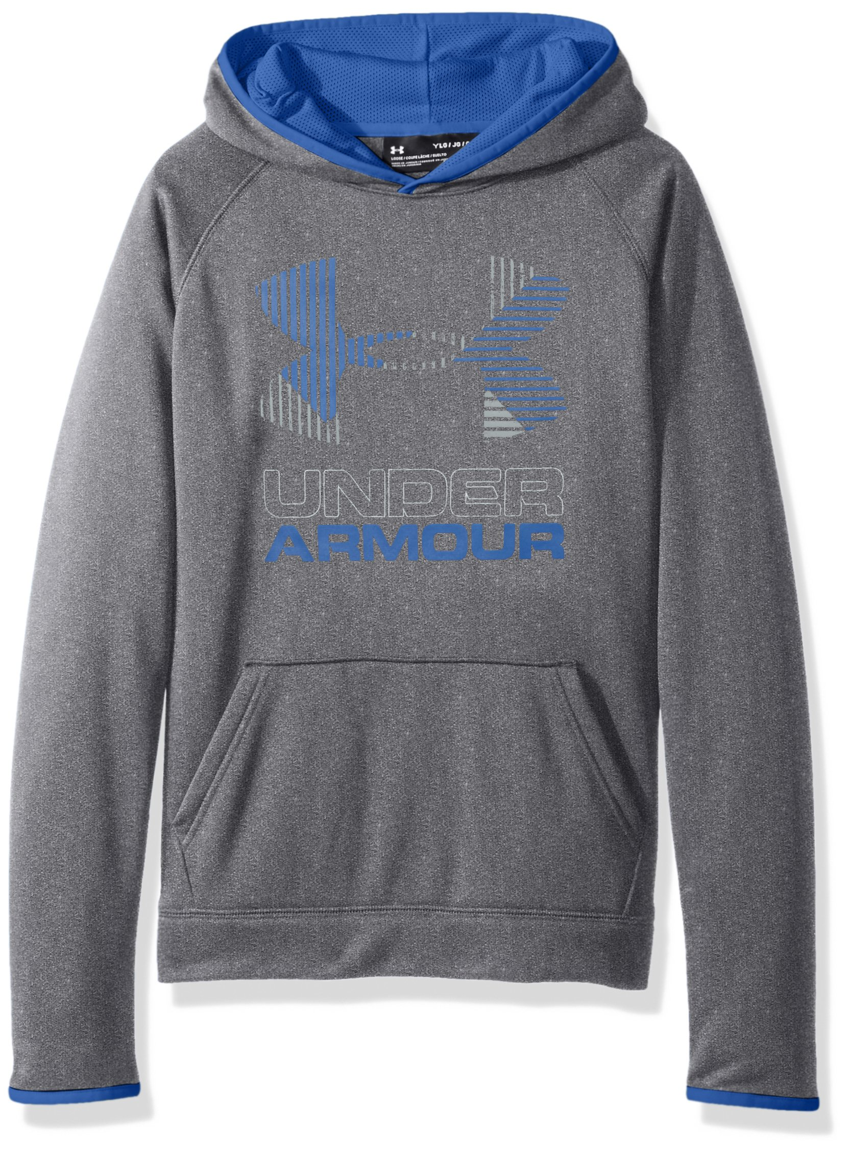 Under Armour Boys' Armour Fleece Solid Big Logo Hoodie, Graphite /Overcast Gray, Youth Small by Under Armour