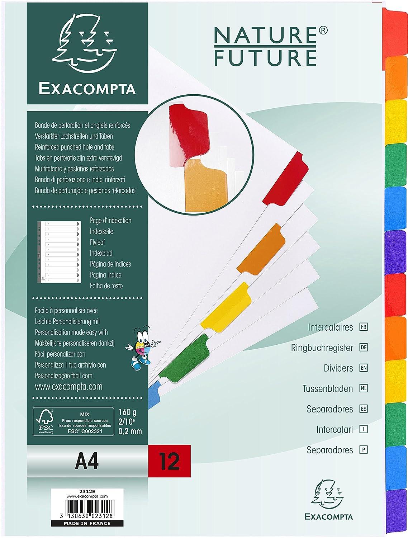 Exacompta 948239 Register aus Pappe A4 wei/ß 12 Positionen Tab buntes Sortiment