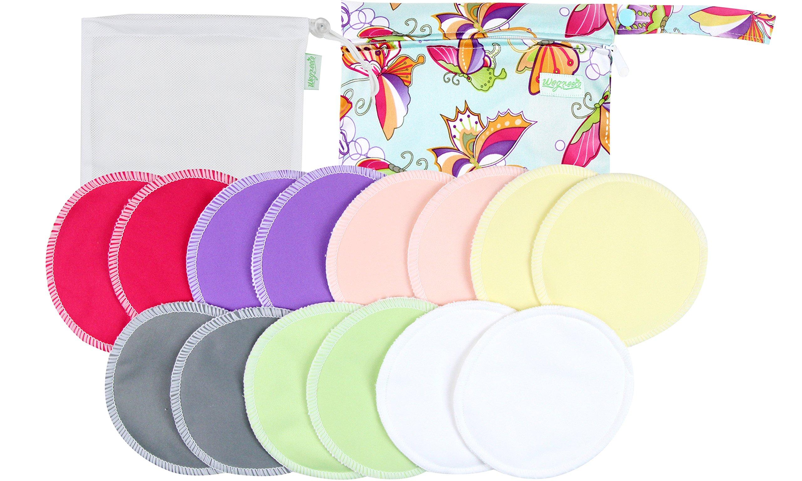 Organic Bamboo Nursing Pads (14 Pack)+Laundry Bag & Travel Bag,2 Sizes:3.9/4.7inch Option - Washable & Reusable Nursing Pads(Small, Daytime Use)