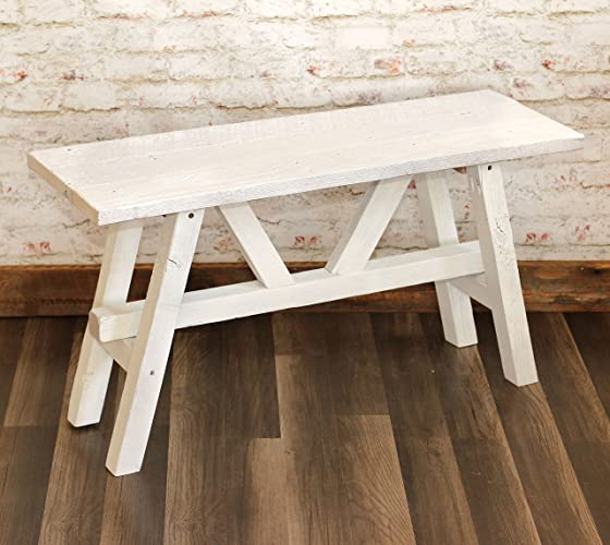 Amazoncom White Farmhouse Barn Wood Bench Handmade - Barn wood picnic table