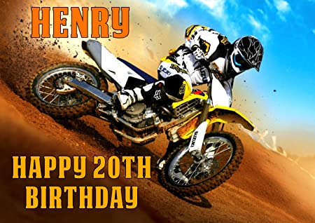 Dirt Bike Birthday Card Customized with Your Name and Age Amazonco