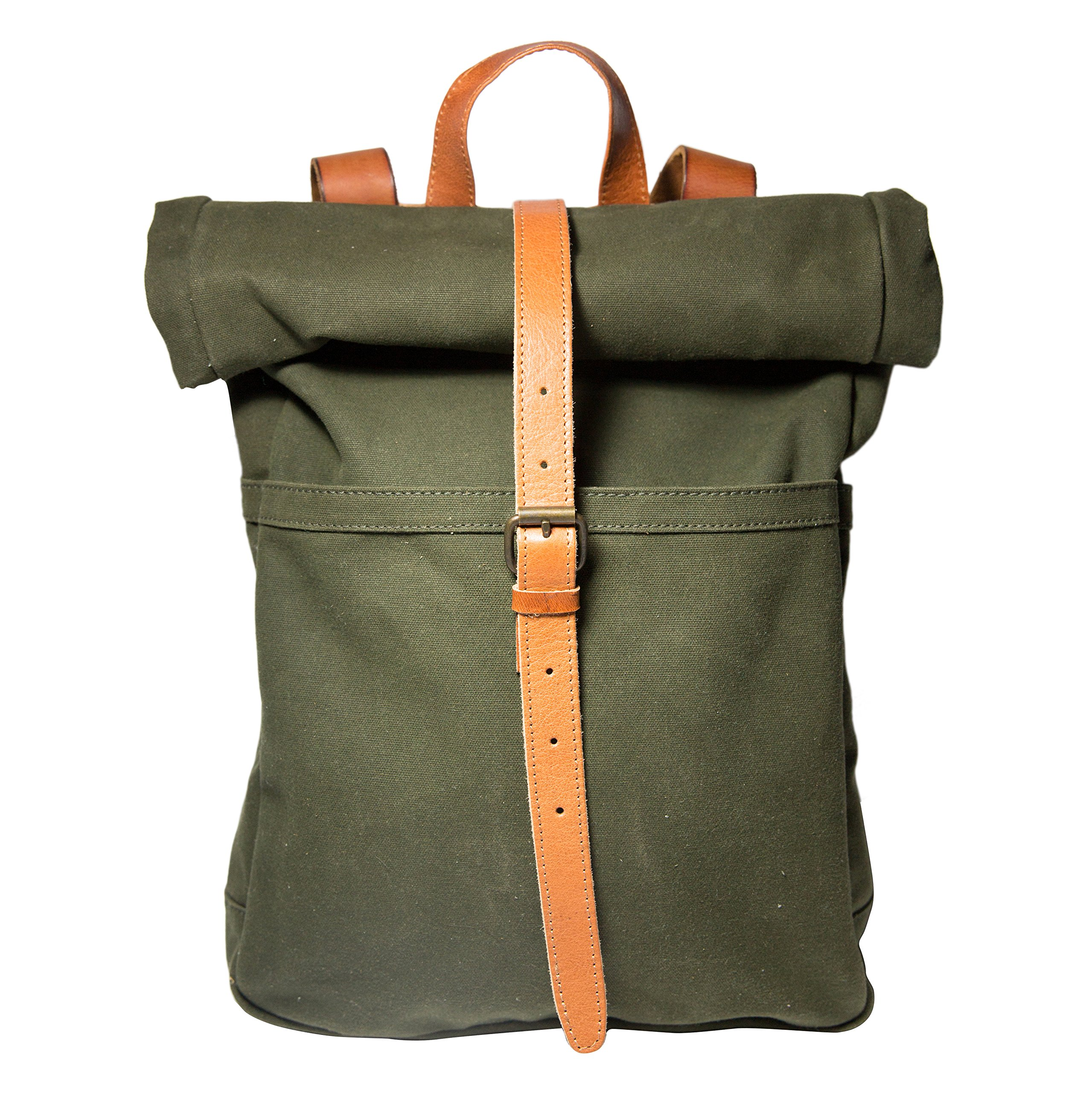 Moss Green Canvas & Leather Backpack, Canvas Rucksack, Small Canvas Backpack, Travel Bag