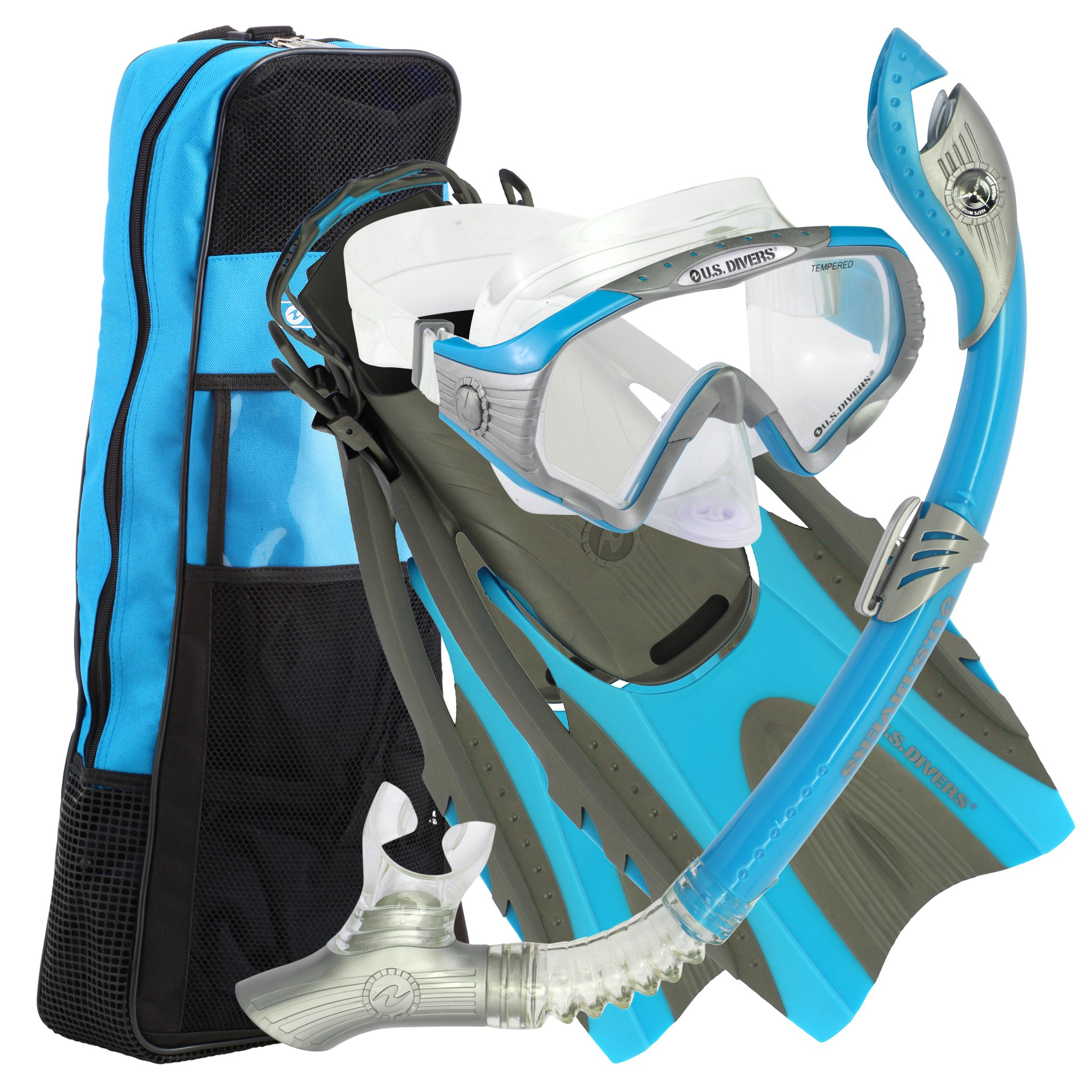 U.S. Divers Purge Mask, Hingeflex Fins, Dry Snorkel Set, with Snorkeling Gear Bag, PBL-SM by U.S. Divers
