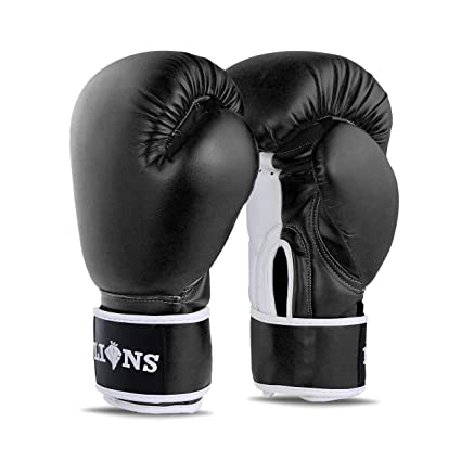 Kickboxing Boxercise 12oz Martial Arts Muay Thai Lions Deluxe Boxing Gloves Gym Karate 10oz Punch Bag Training Mitts Fitness Fight Ideal for MMA