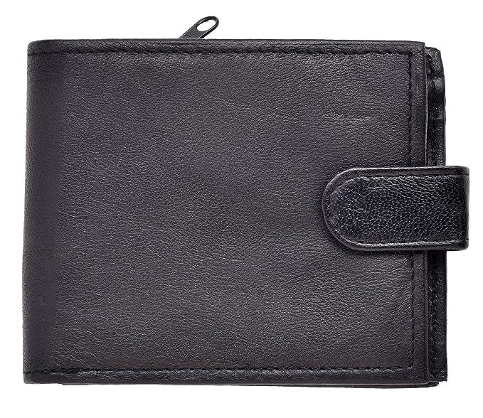 Lorenz - Cartera para hombre - Departamento para billetes y bolsillo con cremallera - Cuero suave - Negro: Amazon.es: Ropa y accesorios
