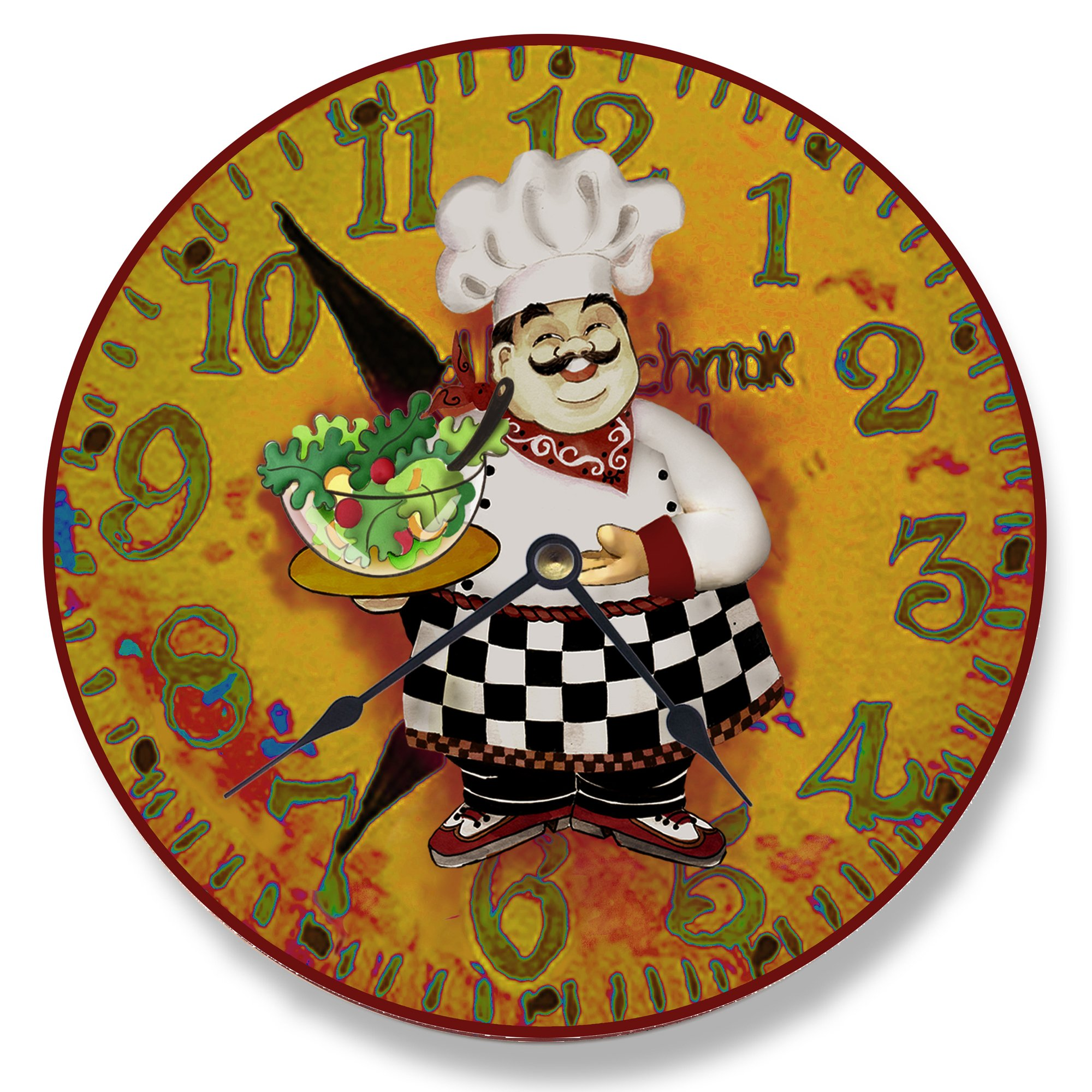 Stupell Home Décor Italian Chef With Salad Vanity Wall Clock, 12 x 0.4 x 12, Proudly Made in USA