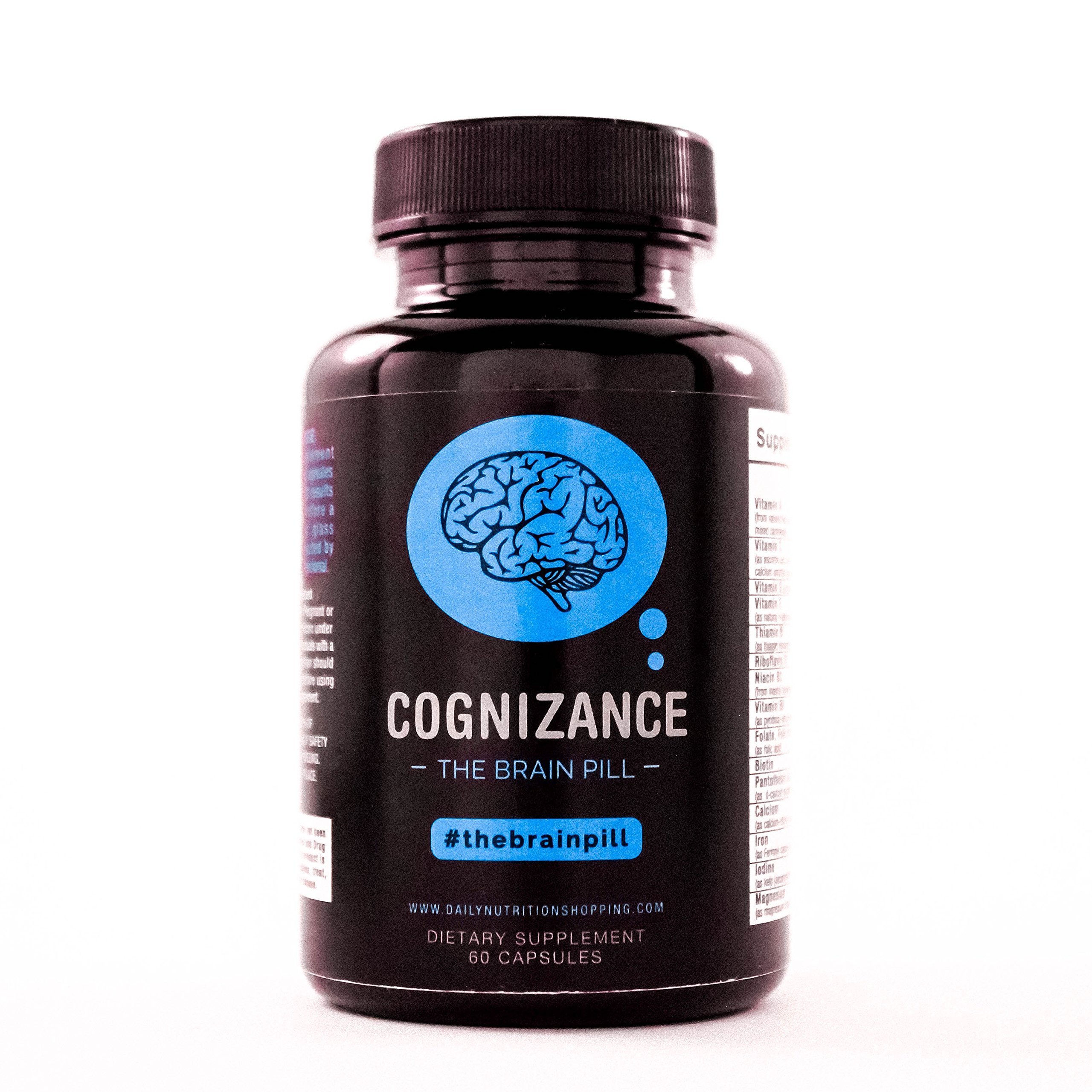 Cognizance The Brain Pill: 60 Capsules - Natural Brain Function Support for Memory, Focus, Clarity, Mental Performance and More