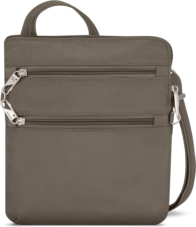 Travelon Anti-Theft Classic Slim Dbl Zip Crossbody Bag, Nutmeg