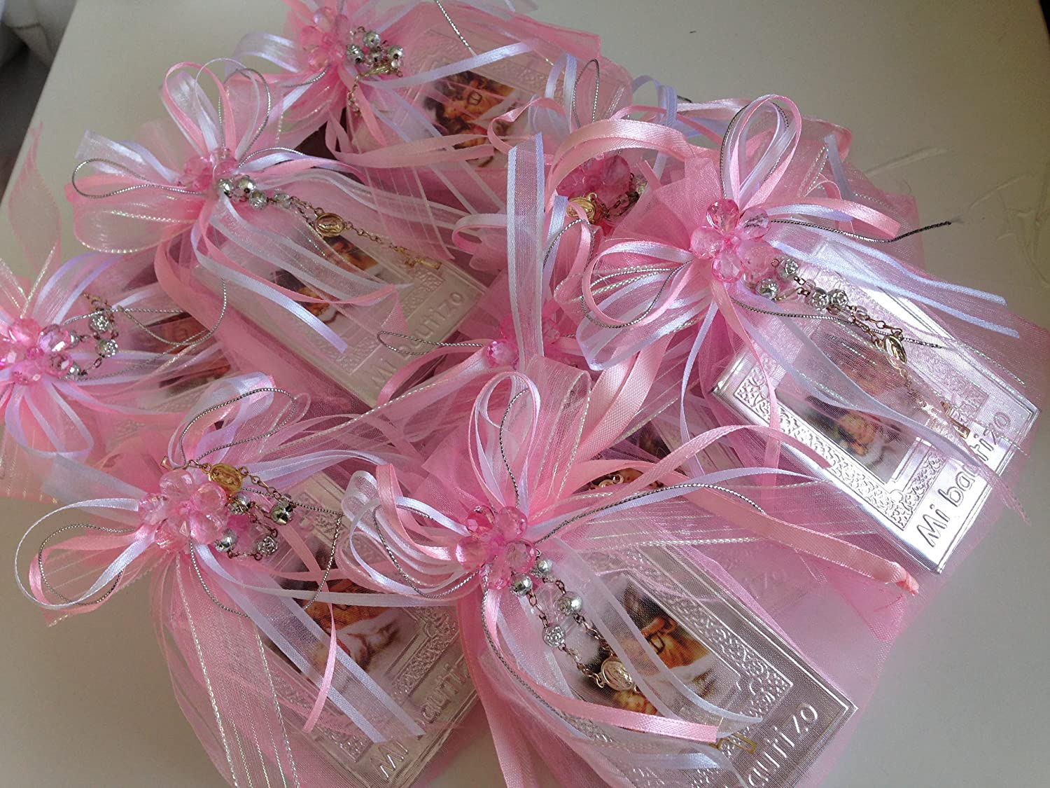 Amazon.com : Baptism Favors Baby Pink 12pc / Prayer Books Covered in ...