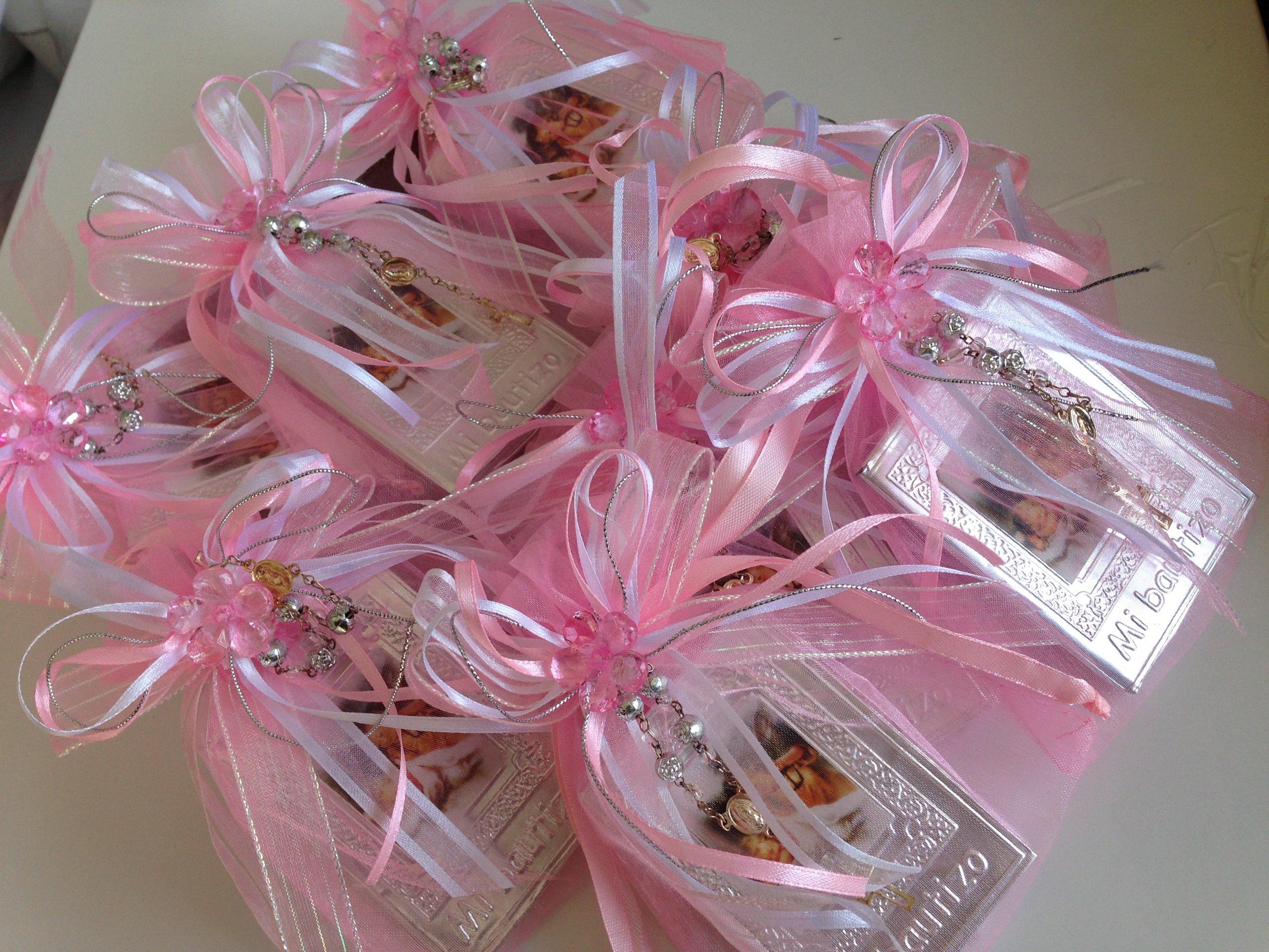 Baptism Favors Baby Pink 12pc / Prayer Books Covered in Repujado/recuerditos De Bautizo En Repujado Libritos De Oracion