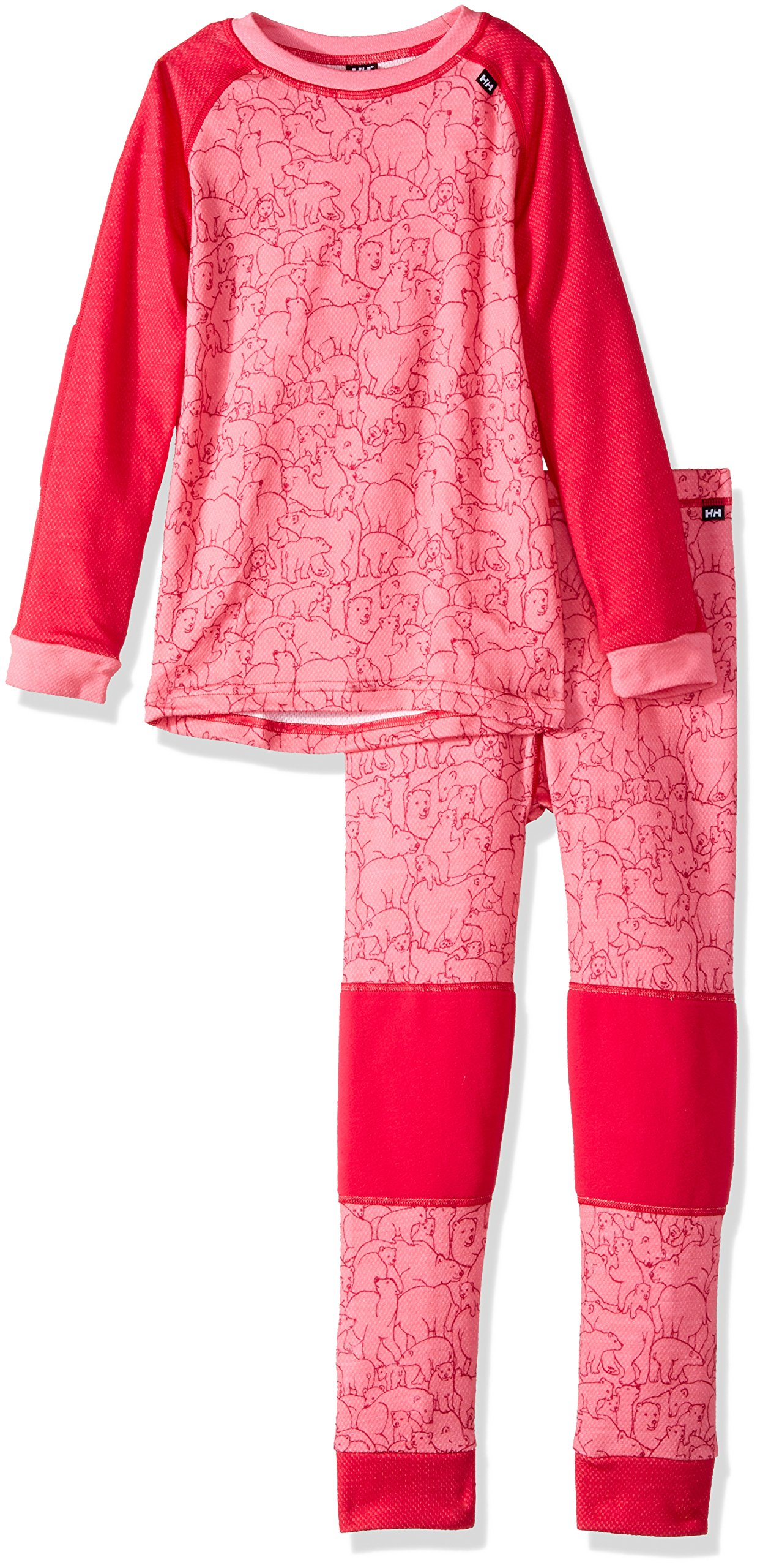 Helly Hansen Kids Lifa Merino Wool Warm Baselayer Set Top and Bottom, 127 Bright Rose, Size 2