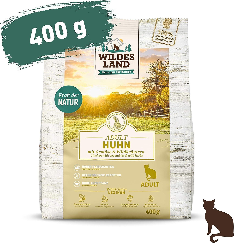 Wildes Land   400 g   Alimento seco para gatos   pollo   Fórmula sin cereales   Alto porcentaje de carne   Preparado en Alemania   Alto contenido de ...