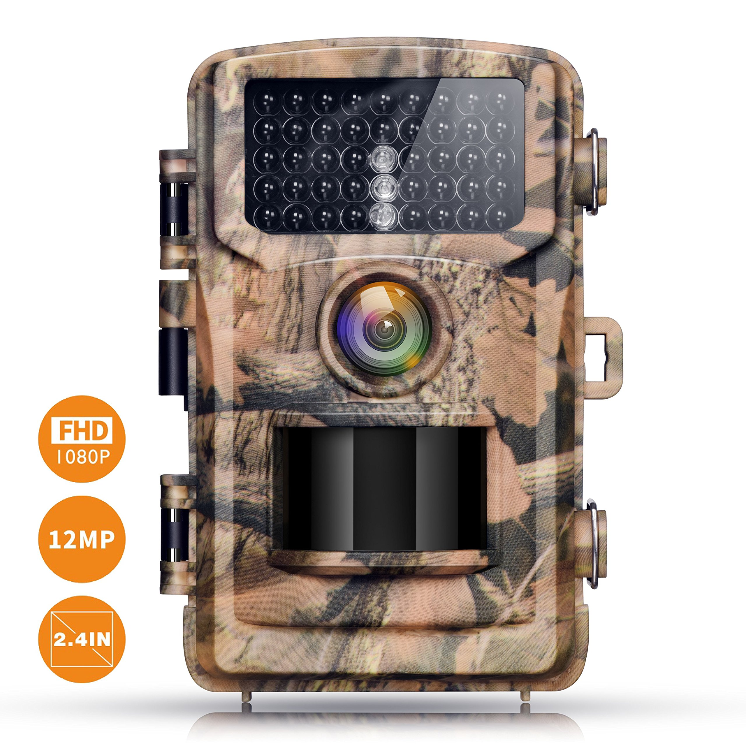 Campark Trail Camera 12MP 1080P 2.4'' LCD Game Camera Motion Activated Wildlife Hunting Cam IR LEDs Night Vision up to 75ft/23m IP56 Waterproof (New Version)