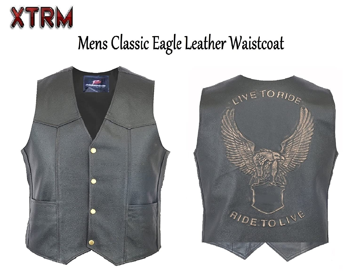 10XL Live To Ride Men/'s Black Eagle Embossed Motorcycle Leather Vest S