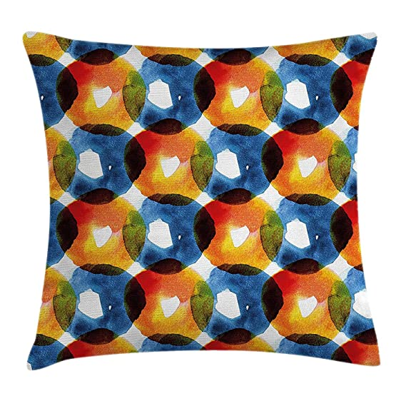 Modern Throw Pillow Cushion Cover, Watercolor Drawing of ...