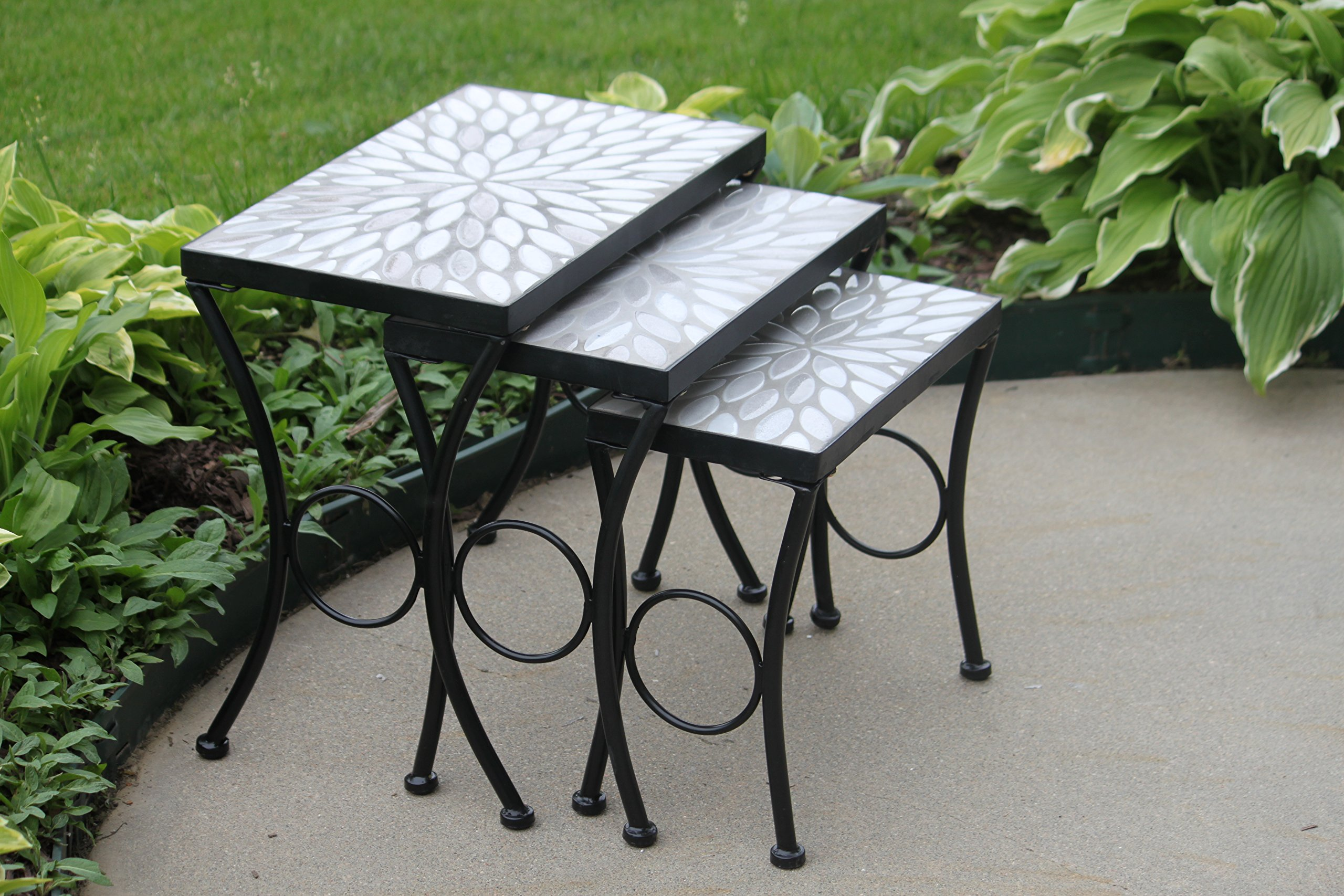 Set of 3 Cement Oval Mosaic Tile Top Accent Side Tables - Nesting by Pebble Lane Living