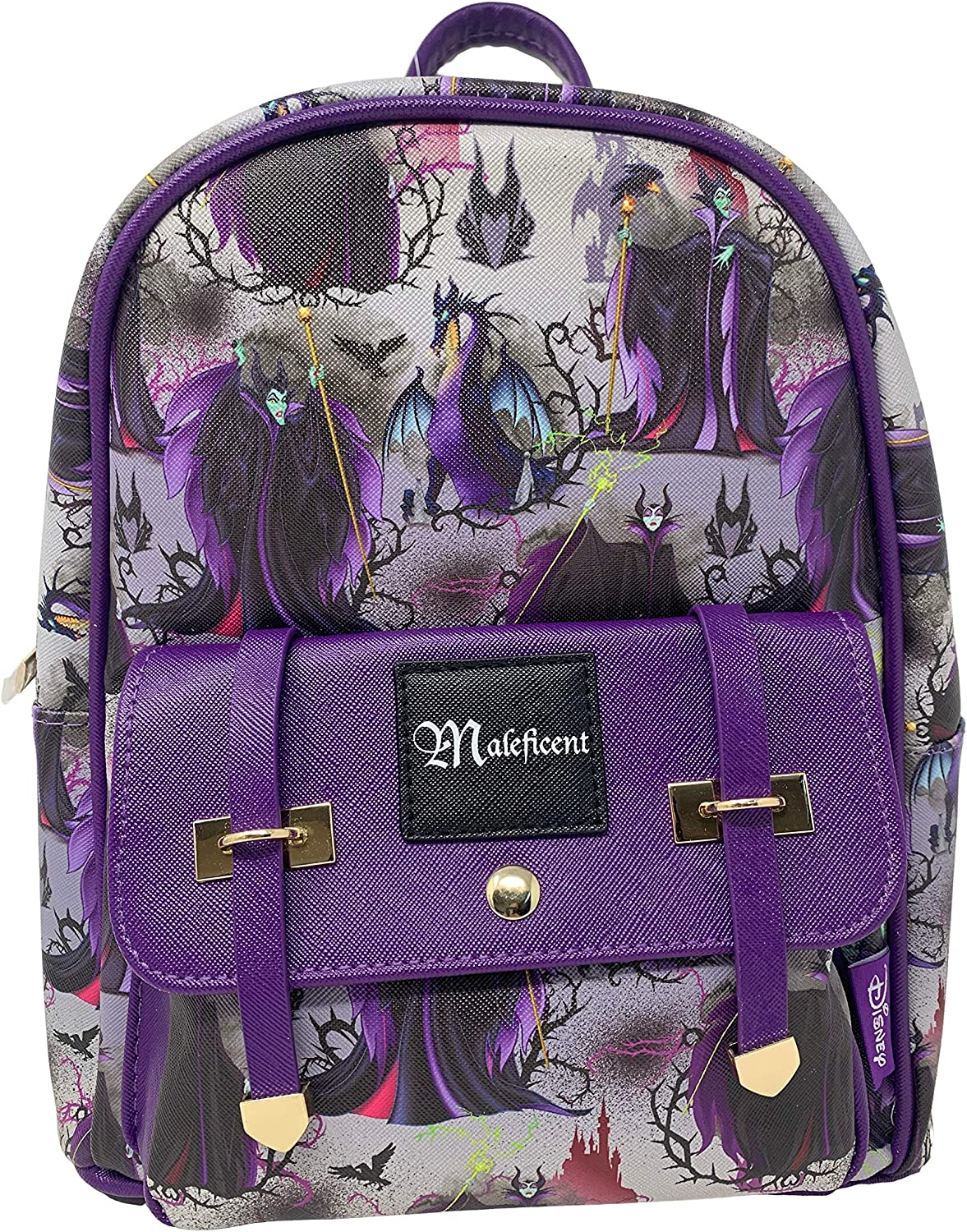 Disney s Villains – Maleficent 11 Faux Leather Mini Backpack -Purple