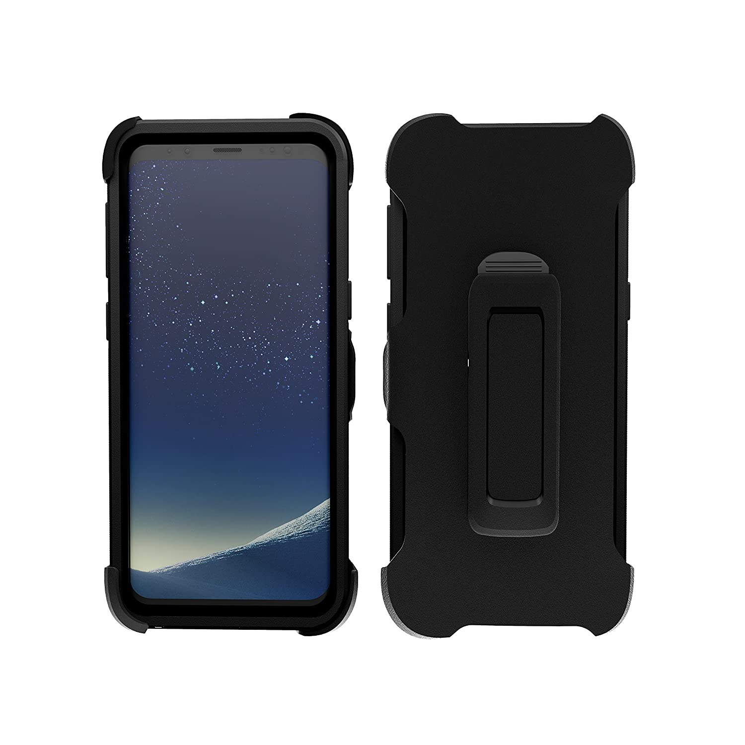 purchase cheap 92ce0 49db1 Samsung Galaxy S8 Plus Case, ToughBox [Armor Series] [Shockproof] [Black]  for Galaxy S8 Plus Case [with Holster & Belt Clip] [Fits OtterBox Defender  ...